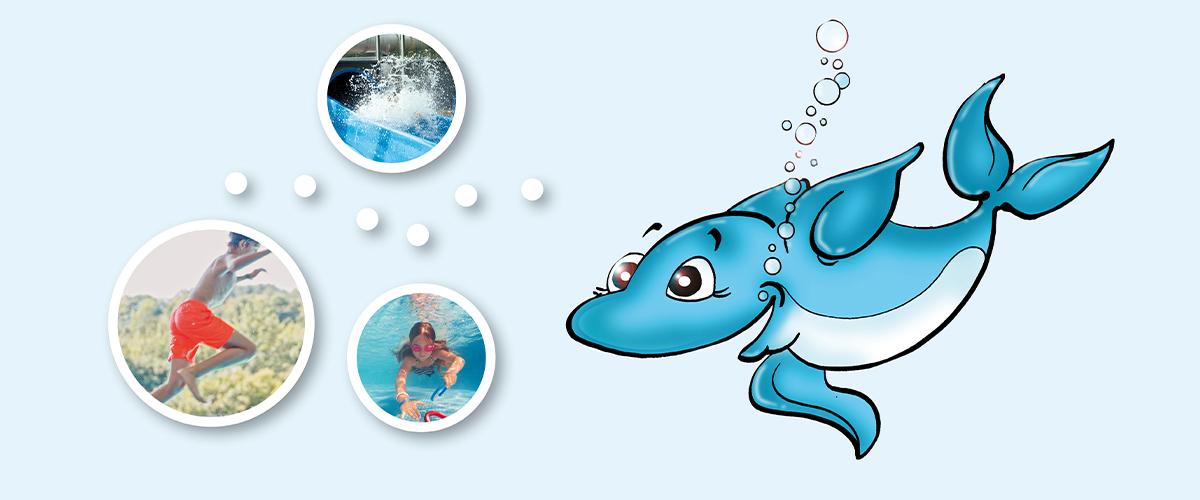 gezeichneter Delphin im Wasser mit Aktionsgrafiken und spielenden Kindern